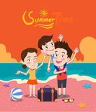 Summer holidays  illustration,flat design family and beach, concept Royalty Free Stock Photography