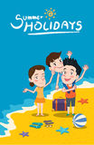Summer holidays  illustration,flat design family and beach concept.  Royalty Free Stock Photo