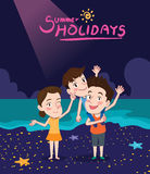 Summer holidays  illustration,flat design family and night beach, concept Stock Images