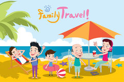 Summer holidays  illustration,flat design family travel and beach concept Stock Photos