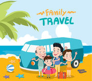Summer holidays  illustration,flat design family travel and mini bus concept Royalty Free Stock Photography