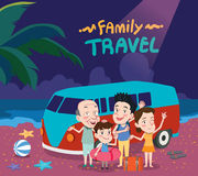 Summer holidays  illustration,flat design family travel and night beach concept.  Royalty Free Stock Images
