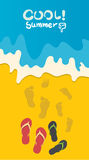 Summer holidays  illustration,flat design going to beach and sandals concept Royalty Free Stock Photos