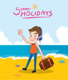 Summer holidays  illustration,flat design listening to music and beach concept Royalty Free Stock Photos