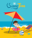 Summer holidays  illustration,flat design parasol and boy Royalty Free Stock Image