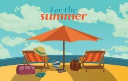 Summer holidays  illustration,flat design romantic prasol and beach concept Stock Photos