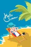 Summer holidays  illustration,flat design sea and sunbed business man, concept Stock Image