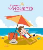 Summer holidays  illustration,flat design sunbed business man, concept Stock Photography