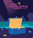 Summer holidays  illustration,flat design treasure box and hunting concept Royalty Free Stock Photography