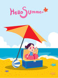 Summer holidays  illustration,flat design treasure girl and beach, concept Royalty Free Stock Images
