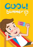 Summer holidays  illustration,flat design youth man and icecream concept Stock Photography