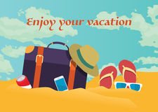 Summer holidays  illustration,flat retro design beach on the traveling bag and objects, concept Royalty Free Stock Photos