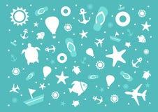 Summer holidays illustration framework. Over blue background Royalty Free Stock Photos
