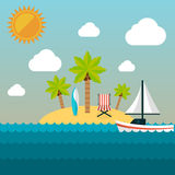 Summer holidays illustration. Island Royalty Free Stock Photo