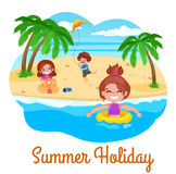 Summer holidays illustration. kids on the beach. Royalty Free Stock Photos