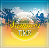 Summer holidays illustration with logo Royalty Free Stock Photo