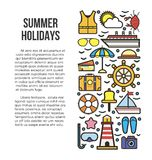 Summer holidays information list vector illustration. Sun bathes on deck Royalty Free Stock Photography