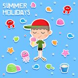 Summer holidays - Little boy and ice cream - Adorable sticker set - Beach party elements Stock Photo