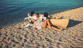 Summer holidays and marine trip. Love relations of couple enjoying summer day together. woman and man at sea water. Summer holidays and marine trip. Love stock photo