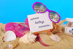 Summer holidays memories with easel Stock Photos