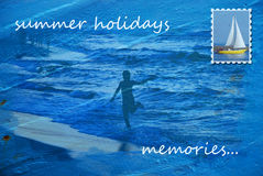 Summer holidays memories postcard Stock Images