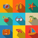 Summer holidays modern flat icons set - coconut Stock Image