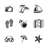 Summer holidays monochrome icons set with - Royalty Free Stock Image