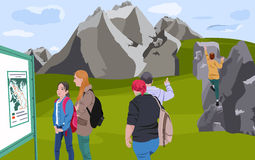 Summer Holidays in the Mountains. Vector Illustration Stock Image