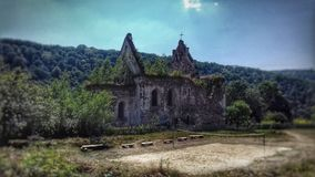 Old, ruined, beautiful church stock images