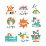 Summer holidays or party and travel adventure vector icons set Stock Photos