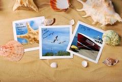 Summer holidays photos lying on the beach Stock Photo