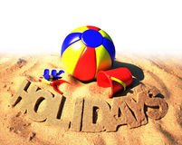 Summer holidays poster. Colorful beach toys on the sand Royalty Free Stock Image