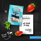 Summer holidays poster with blurry effect on a chalkboard backgr Royalty Free Stock Photos