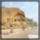 Summer holidays poster with blurry effect. Vector background. Let's swim together, vector text typography poster  from background Stock Images