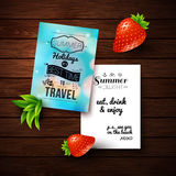 Summer holidays poster with blurry effect on a wooden background Royalty Free Stock Photos