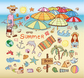 Summer holidays. Poster on tropical beach background Royalty Free Stock Photos