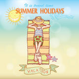 Summer holidays. Poster on tropical beach background. Stock Photography