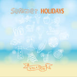 Summer holidays. Poster on tropical beach background. Royalty Free Stock Photo