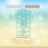 Summer holidays. Poster on tropical beach background. Royalty Free Stock Images