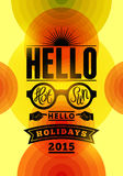 Summer holidays poster. Vector typographical design with colorful circle background. Eps 10. Stock Image