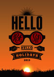 Summer holidays poster. Vector typography design on sunset background. Eps 10. Stock Photography