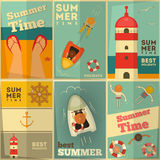 Summer Holidays posters set. Sea Summer Holidays Posters Set. Vector Illustration Stock Image