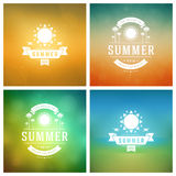 Summer Holidays Retro Typography Labels or Badges Design Stock Photos