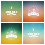 Summer Holidays Retro Typography Labels or Badges Design Stock Images
