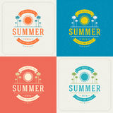 Summer Holidays Retro Typography Labels or Badges Design Stock Photo