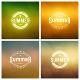 Summer Holidays Retro Typography Labels or Badges and Vector Backgrounds. Royalty Free Stock Photos