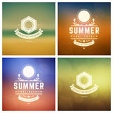 Summer Holidays Retro Typography Labels or Badges and Vector Backgrounds. Royalty Free Stock Photo