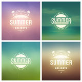 Summer Holidays Retro Typography Labels or Badges and Vector Backgrounds. Stock Images