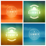 Summer Holidays Retro Typography Labels or Badges and Vector Backgrounds. Royalty Free Stock Images