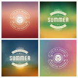 Summer Holidays Retro Typography Labels or Badges and Vector Backgrounds. Stock Photo